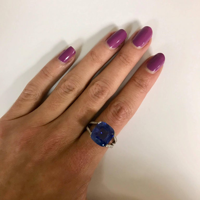 Natural Blue Sapphire GRS Certified 9.47 K and Diamonds Gold Palladium Ring 5