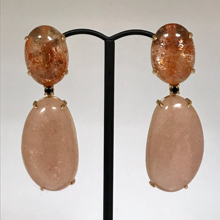 Moonstone Sunstone and Spinel Yellow Gold 18 Carat Earrings 2