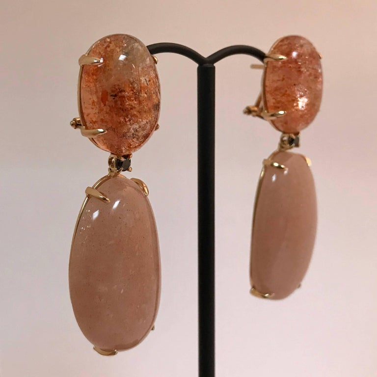 Moonstone Sunstone and Spinel Yellow Gold 18 Carat Earrings 5