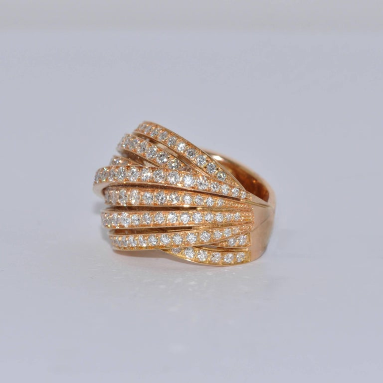 White Diamonds and Yellow Gold 18 Carat Cocktail Ring Brilliant White Diamonds 3.34 Carat Yellow Gold 18 Carat French Size 53/54 US Size 6 1/4 6 3/4