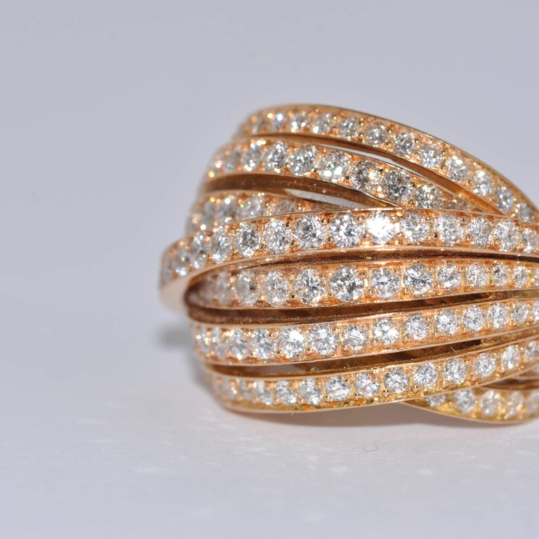 White GSI Diamonds Yellow Gold Cocktail Ring In New Condition For Sale In Vannes, FR