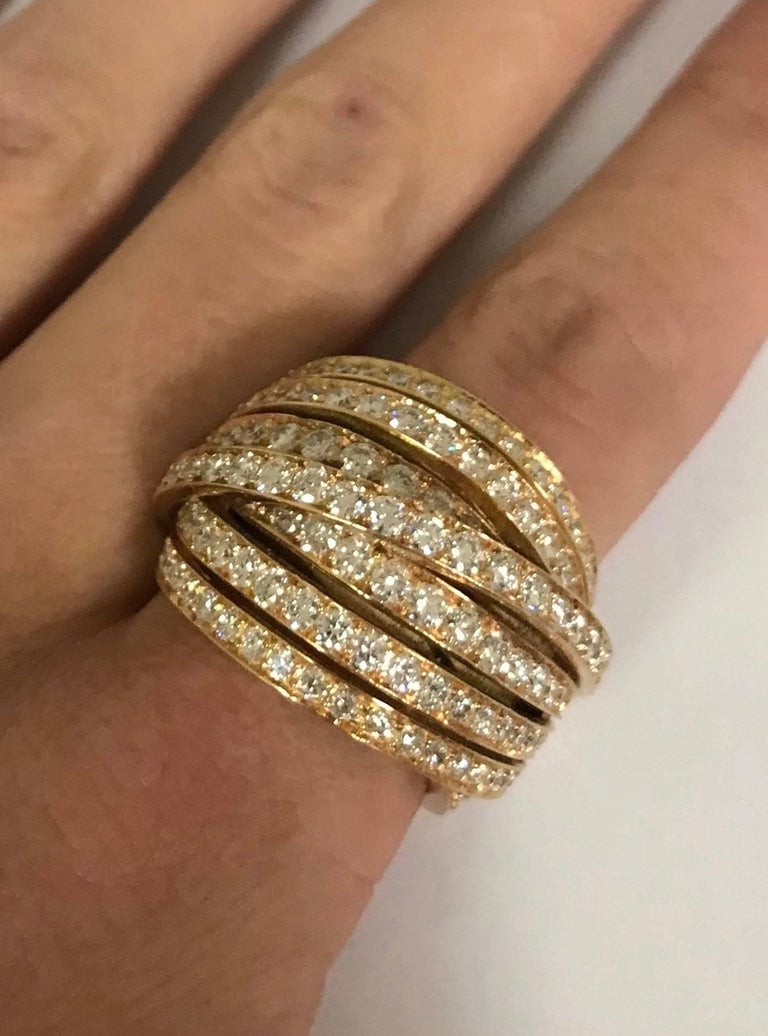Women's White GSI Diamonds Yellow Gold Cocktail Ring For Sale