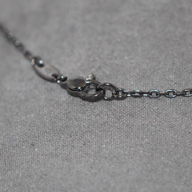 Women's Cross White Gold Rhodium Black and White Diamonds Pendant Necklace For Sale