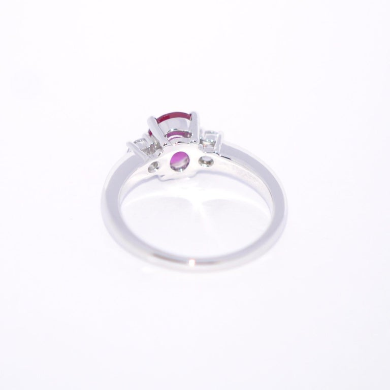 Rose Ruby and White Diamond on White Gold 18 Karat Engagement Ring In New Condition For Sale In Vannes, FR