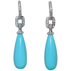 Turquoises And Diamonds White Gold Chandelier Earrings