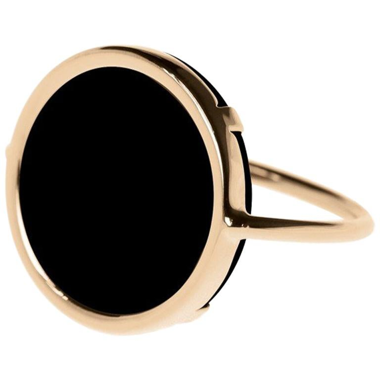 Onyx and Rose Gold 18 Karat Fashion Ring