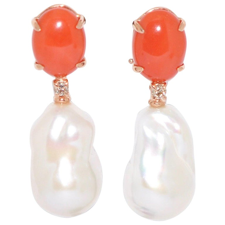 Coral and Baroque Pearls White Diamonds on Rose Gold 18 Chandelier Earrings
