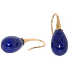 Lapis Lazuli and Yellow Gold 18 Karat Drop Earrings
