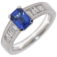 Blue Sapphire Emerald Size , White Diamonds ,White Gold Ring