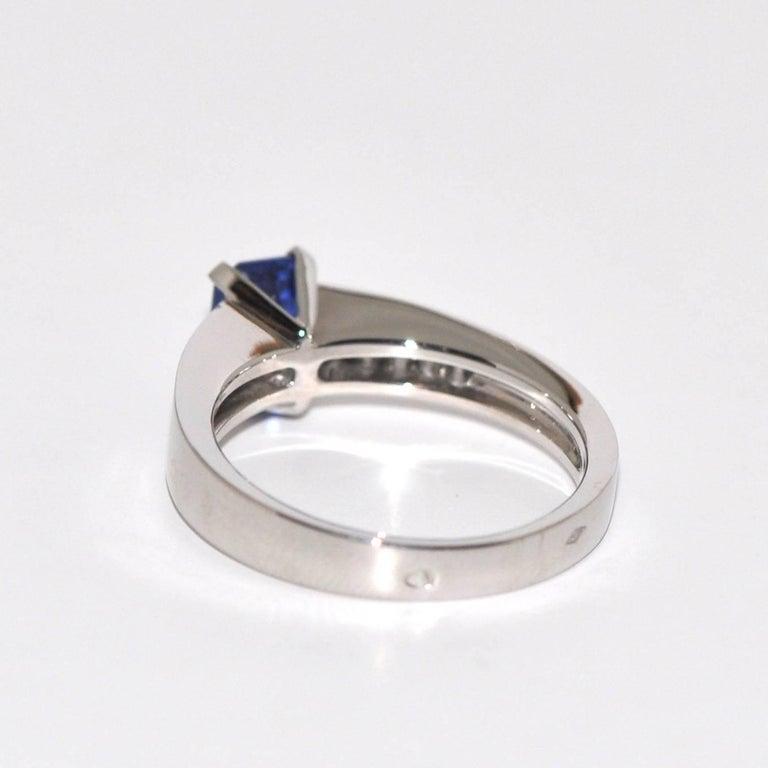 Baguette Cut Blue Sapphire Emerald Size , White Diamonds ,White Gold Ring For Sale