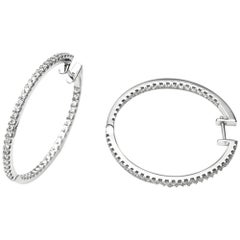 White Gold 18 Carat and Diamonds Hoop Earrings