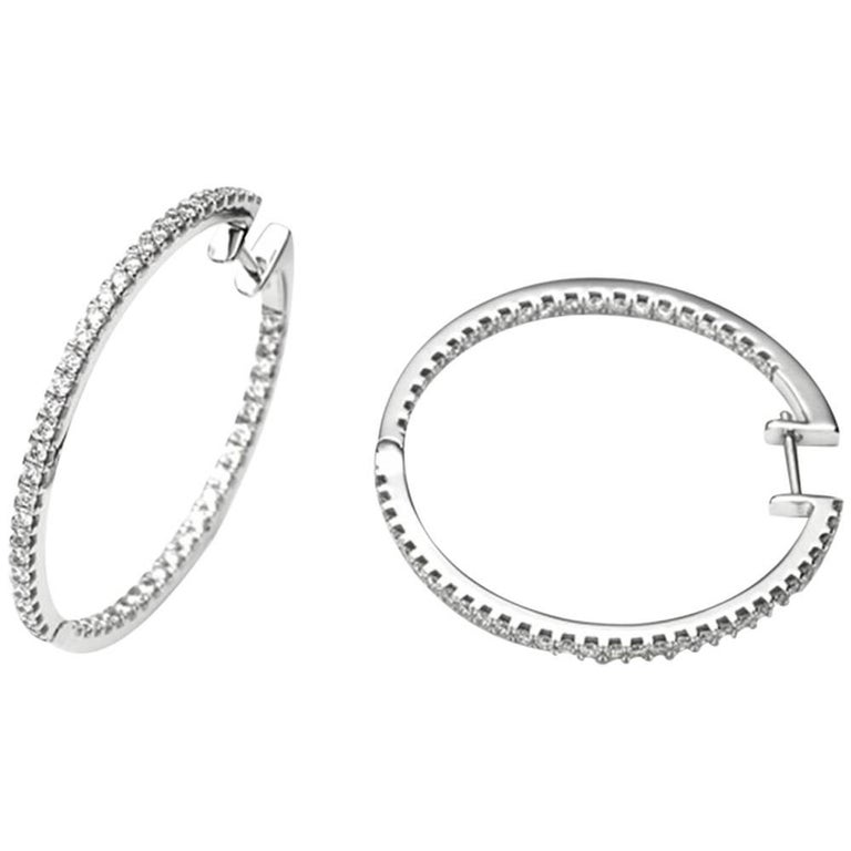 White Gold 18 Carat and Diamonds Hoop Earrings For Sale