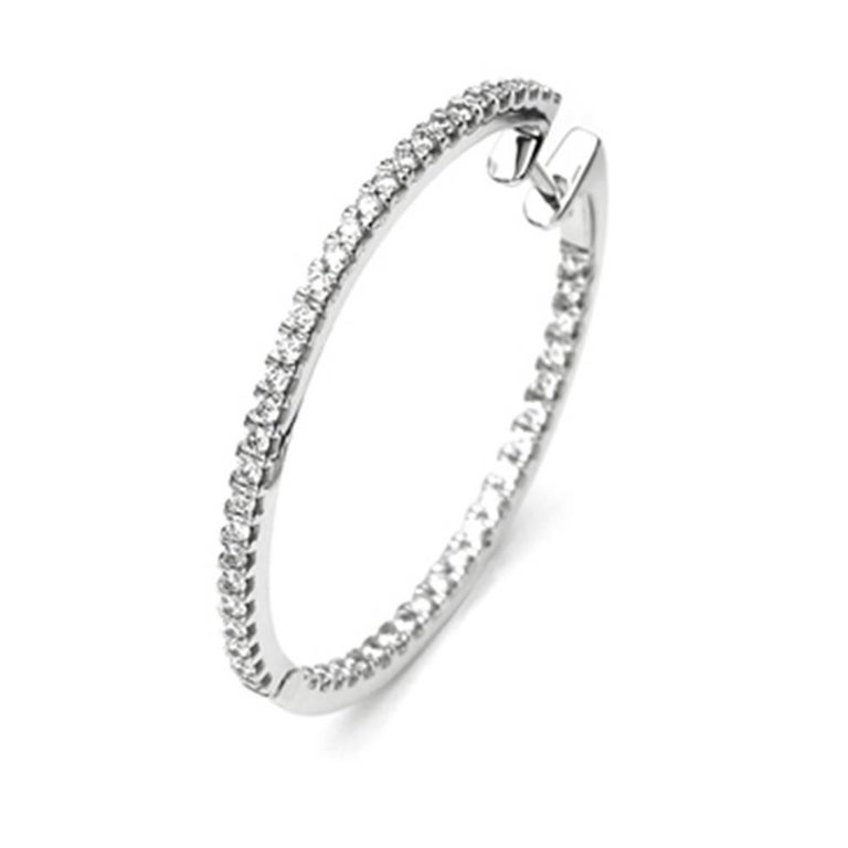 White Gold 18 Carat and Diamonds Hoop Earrings In New Condition For Sale In Vannes, FR