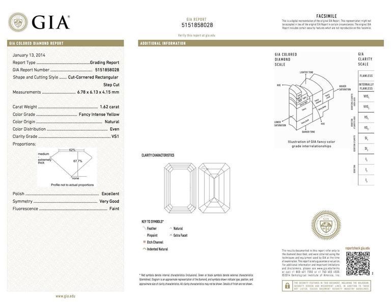 GIA Intense Yellow 1.62 Carat Emerald Cut Diamond Platinum Three-Stone Ring For Sale 1