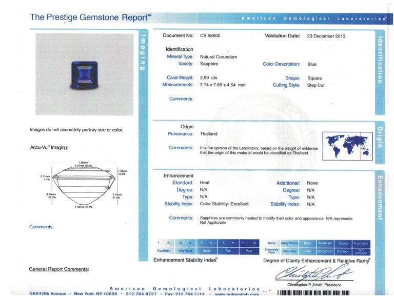 Art Deco J. E. Caldwell 2.89 Carat Sapphire Diamond Ring AGL Certificate For Sale 3