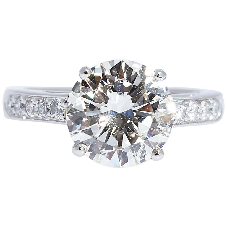 4.04 Carat Round Diamond Ring EGLUSA J/SI2
