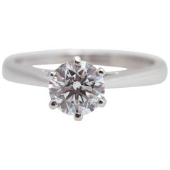 GIA D Color Internally Flawless Triple Excellent 1.14 Carat Round Platinum Ring