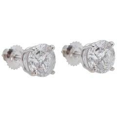 Round White Diamond Earrings 3.41 Carat White Gold EGL USA Certificates