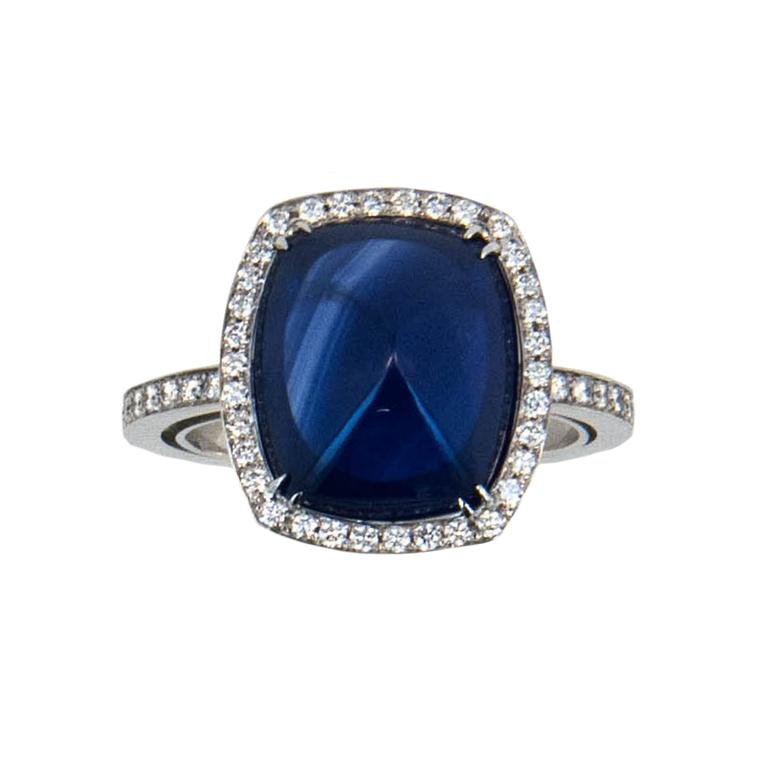 Laura Munder Blue Sapphire Diamond White Gold Ring 1