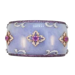 Laura Munder Lavender Jade Grenadill Wood Pink Sapphire Diamond Bangle Bracelet