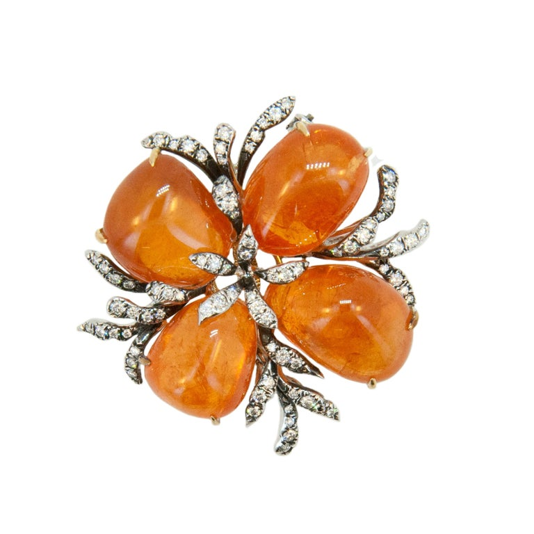 Laura Munder Mandarin Garnet and Diamond Brooch For Sale