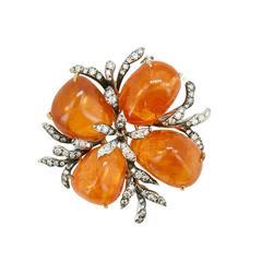 Laura Munder Mandarin Garnet and Diamond Brooch