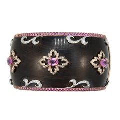 Laura Munder Wood Pink Sapphire Diamond Rose White Gold Bangle Bracelet