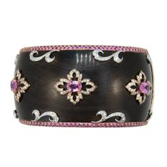 Laura Munder Wood Pink Sapphire Diamond Rose White Gold Bangle Bracelet