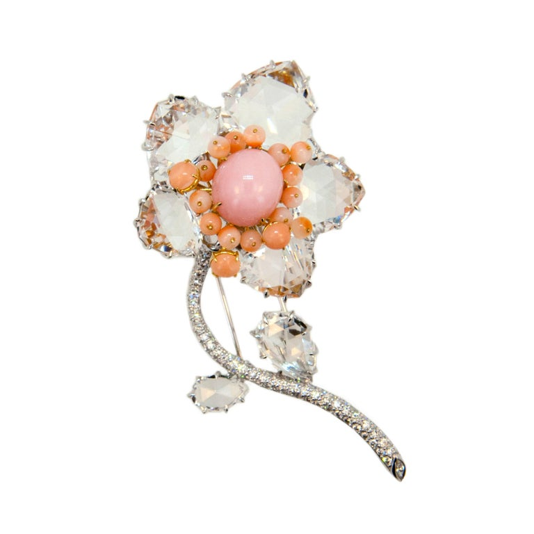 Laura Munder Pink Opal Coral Crystal and Diamond White Gold Brooch For Sale