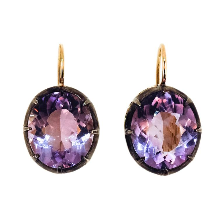 Laura Munder Amethyst Yellow Gold and Sterling Silver Leverback Earrings 1
