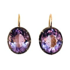 Laura Munder Amethyst Yellow Gold and Sterling Silver Leverback Earrings
