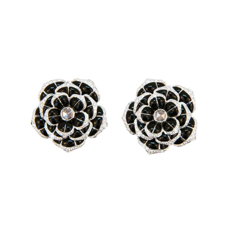 Laura Munder Black Onyx Diamond White Gold Earrings For Sale