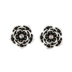 Laura Munder Black Onyx Diamond White Gold Earrings