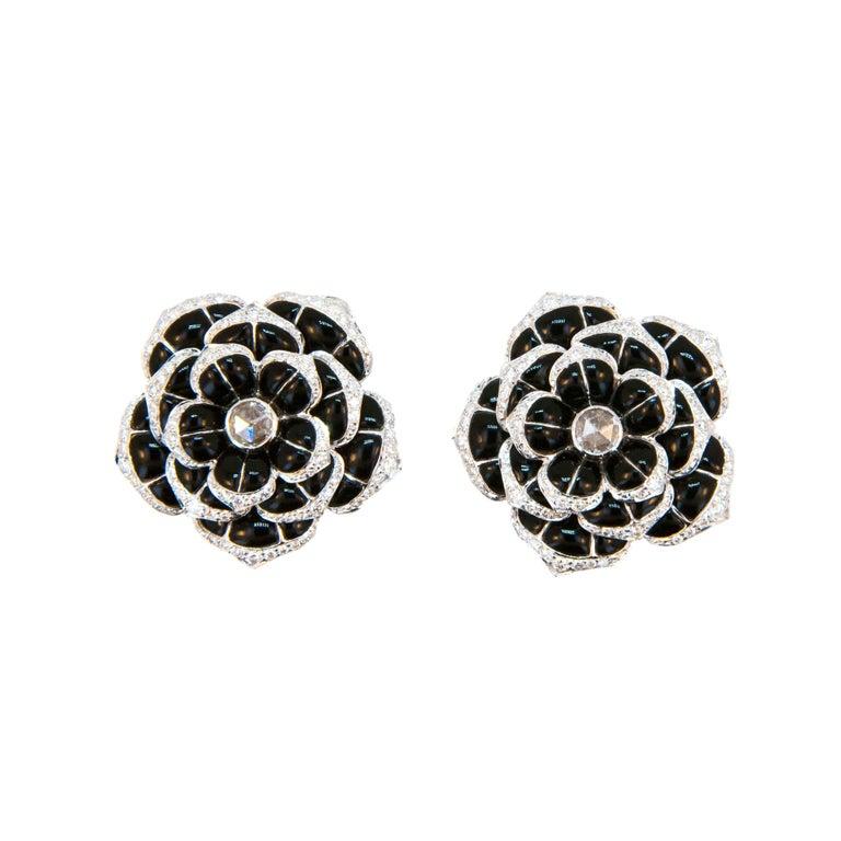 Laura Munder Black Onyx Diamond White Gold Earrings For Sale