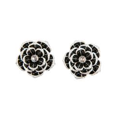 Laura Munder Black Onyx Diamond White Gold Earrings
