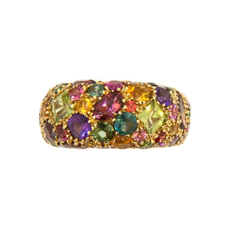 Laura Munder Peridot Garnet Amethyst Tourmaline Citrine Yellow Gold Ring For Sale