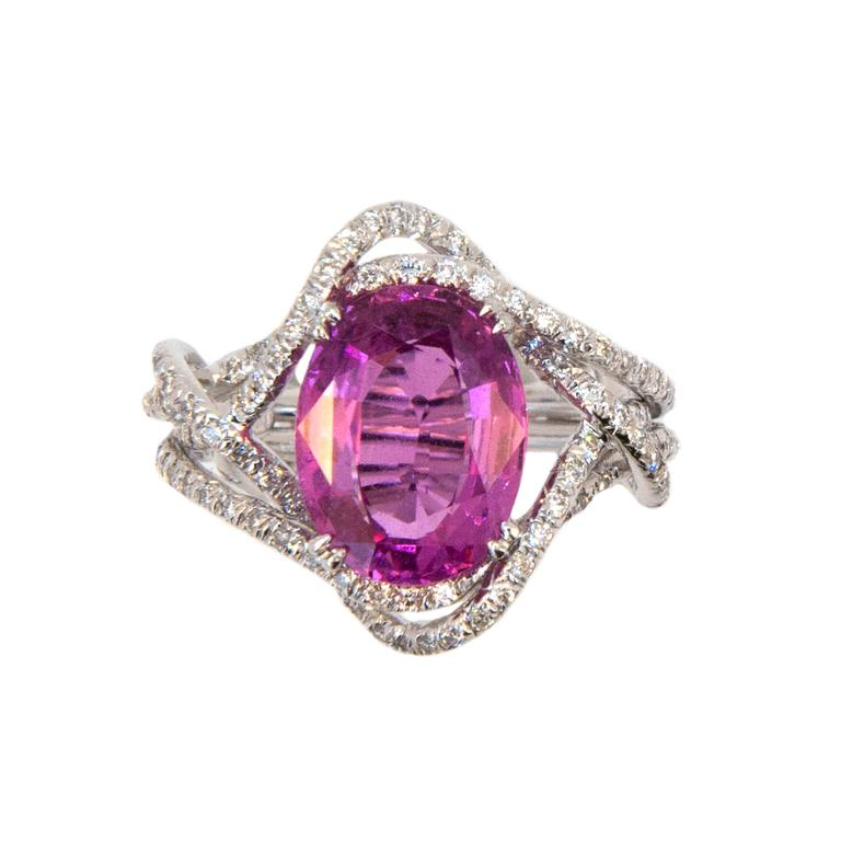 Laura Munder 5.28 Carat Oval Pink Sapphire Diamond White Gold Ring