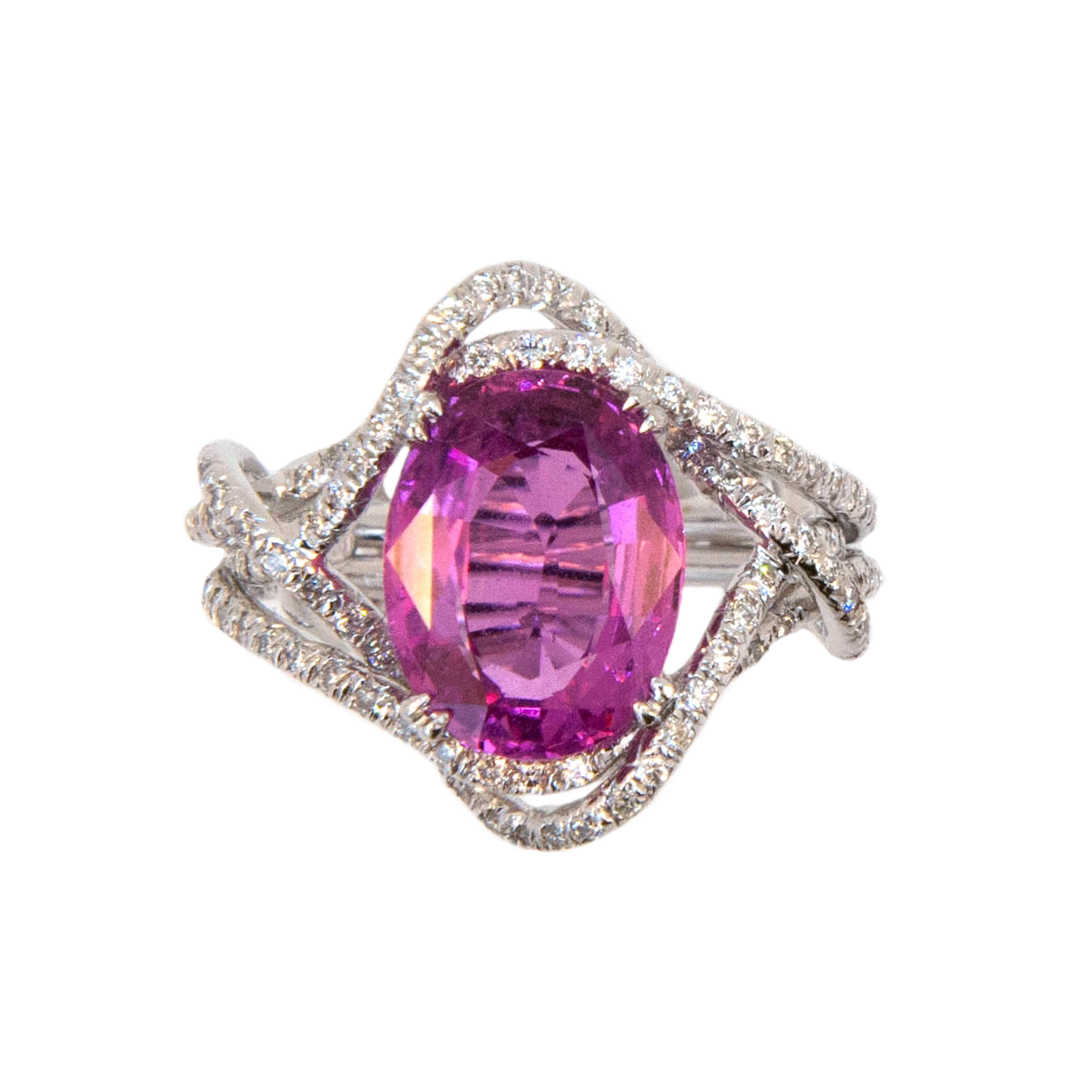 Laura Munder 5.28 Carat Oval Pink Sapphire Diamond White Gold Ring