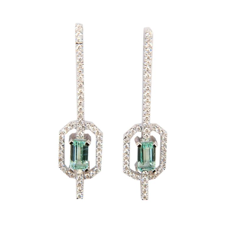 Laura Munder Mint Green Tourmaline Diamond White Gold Earrings For Sale
