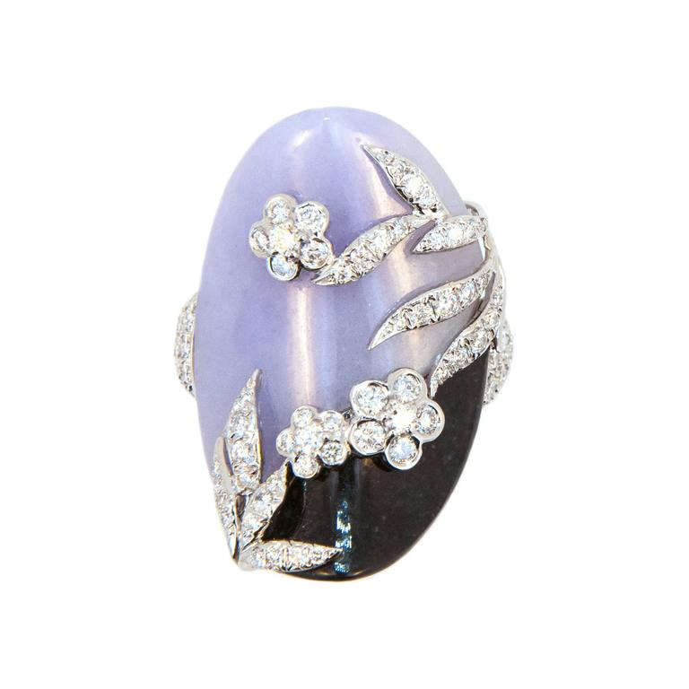 Laura Munder Lavender Jade Black Jade Diamond White Gold Ring For Sale