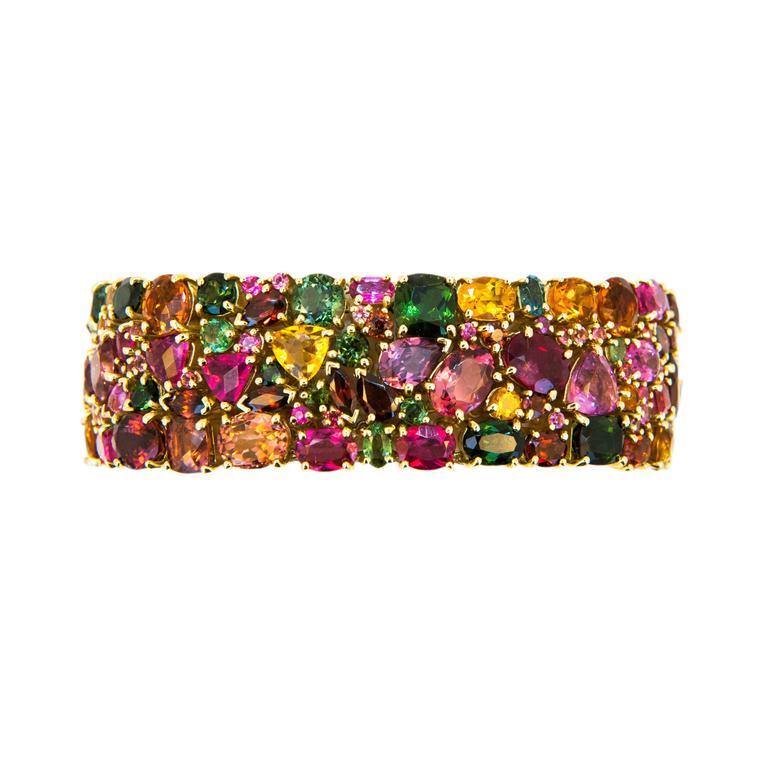 Laura Munder Tourmaline Garnet Citrine Pink Sapphire Yellow Gold Bracelet For Sale