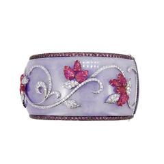 Laura Munder Lavender Jade Wood Pink Sapphire Ruby White Rose Gold Bracelet