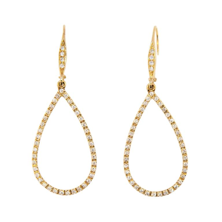 Laura Munder Diamond Drop Yellow Gold Leverback Earrings For Sale