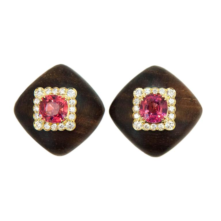 Laura Munder Pink Spinel Diamond and Wood Yellow Gold Earrings