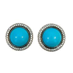 Laura Munder Turquoise Diamond Blackened Yellow Gold Earrings