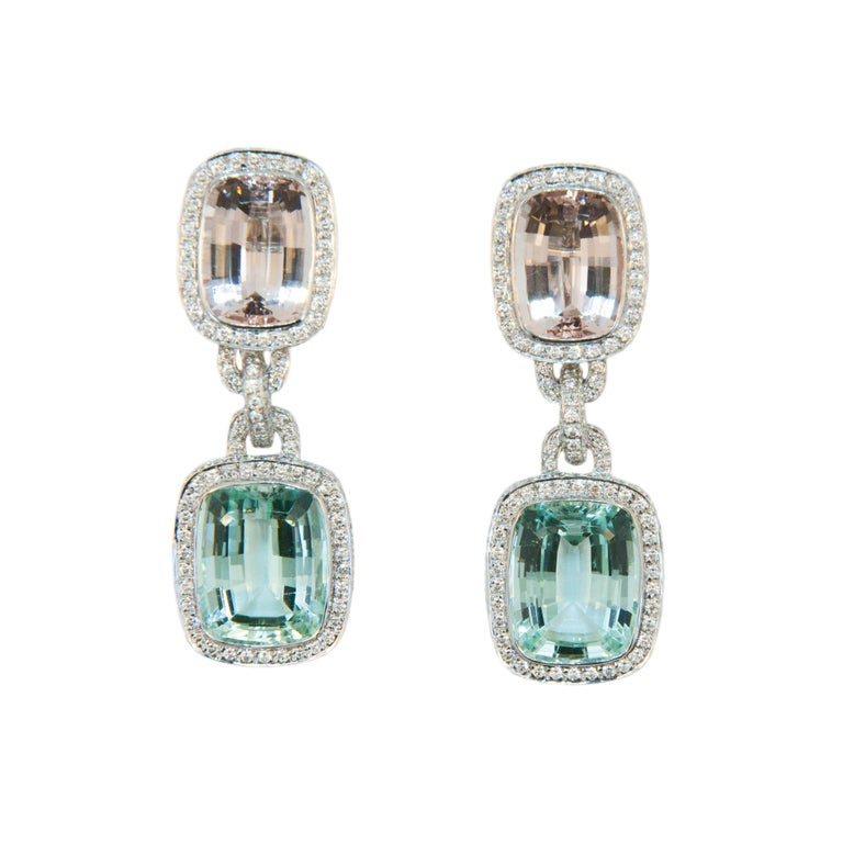 Laura Munder Mint Green Tourmaline Morganite Beryl Diamond White Gold Earrings For Sale