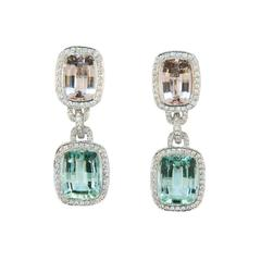 Laura Munder Mint Green Tourmaline Morganite Beryl Diamond White Gold Earrings