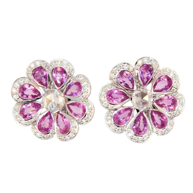 Laura Munder Pink Sapphire White Diamond White Gold Earrings