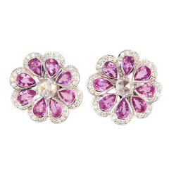 Laura Munder Pink Sapphire White Diamond White Gold Earrings
