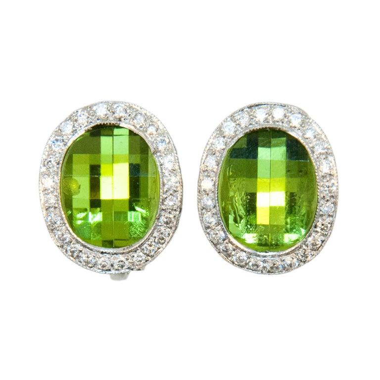 Laura Munder Peridot Diamond White Gold Earrings For Sale